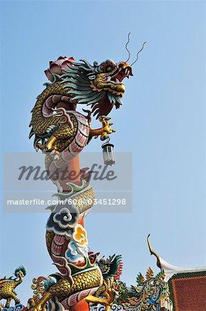 Architectural Detail of Dragon, Wat Phanan Choeng, Ayutthaya, Thailand
