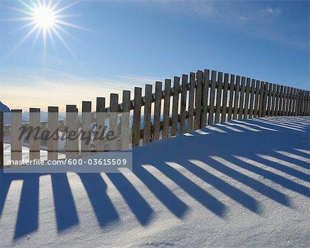 Fence in Snow, Steinplatte, Waidring, Tyrol, Austria