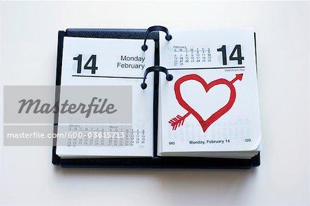 Calendar Showing Valentine's Day