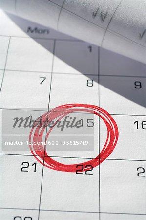 Calendar with 15th Circled