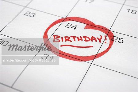 Calendar with Birthday Circled