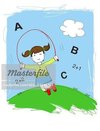 Illustration of Little Girl Skipping Rope