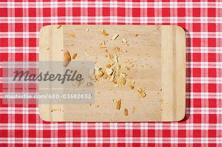 Cutting Board with Bread Crumbs