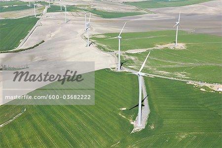 Aerial View of Wind Farm near Jerez de la Frontera, Cadiz Province, Andalusia, Spain