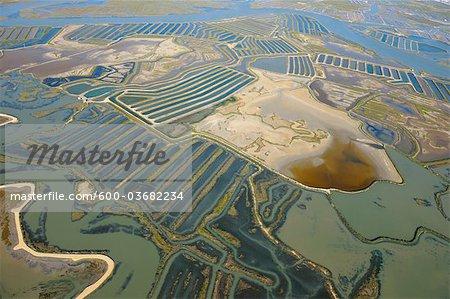 Aerial View of Aquacultures in Bay of Cadiz, Costa de la Luz, Cadiz Province, Andalusia, Spain