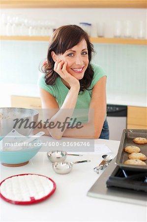 Woman Baking Cookies, Portland, Oregon, USA