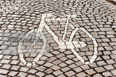 Bicycle Path Sign, Maastricht, Limburg, Netherlands