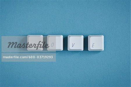 Computer Keys spelling Love