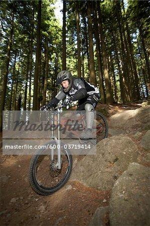 Man Mountain Biking on Mount Seymour, Mount Seymour Provincial Park, North Vancouver, British Columbia, Canada
