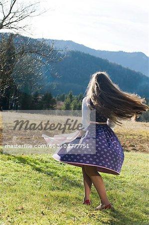 Girl wearing Traditional Austrian clothes, Salzburg, Austria