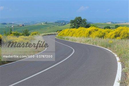 Winding Road in Crete Sienesi, Siena Province, Tuscany, Italy
