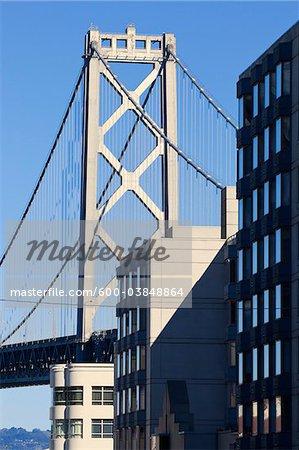 Bay Bridge and Buildings, San Francisco, California, USA