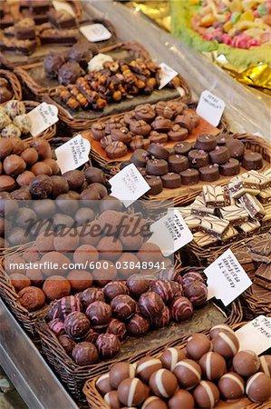 Chocolates in Boqueria Market, Barcelona, Spain