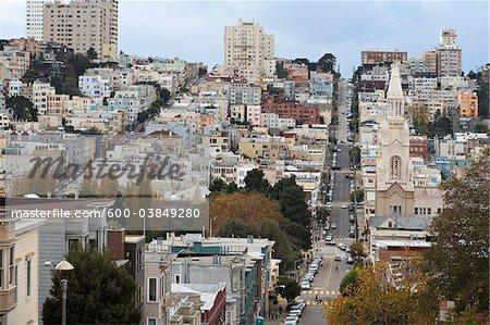 Filbert Street looking southwest towards Saints Peter and Paul Church, San Francisco, California, USA
