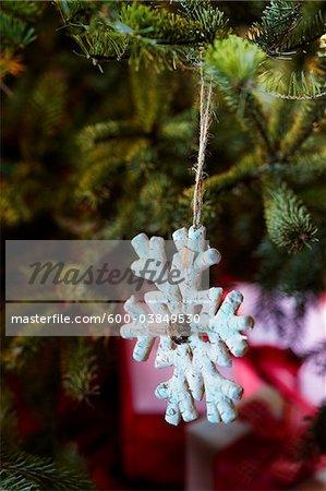 Snowflake Ornament on Christmas Tree