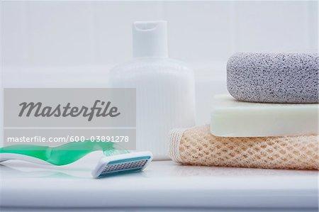 Bath Products on edge of Tub