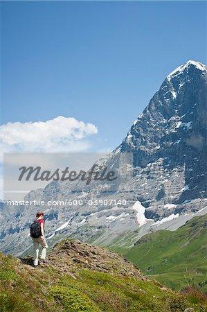 Woman Hiking, Berense Oberland, Eiger Peak, North Face, Switzerland
