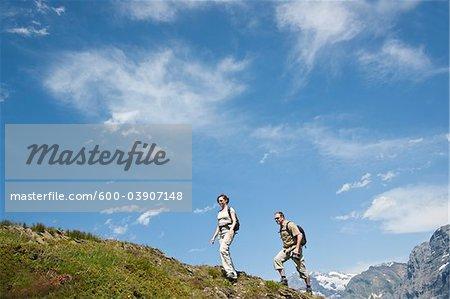 Couple Hiking, Bernese Oberland, Switzerland