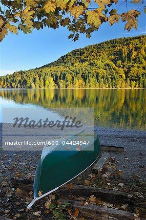 Canoe on Shore, Niedernach, Walchensee, Bavaria, Germany