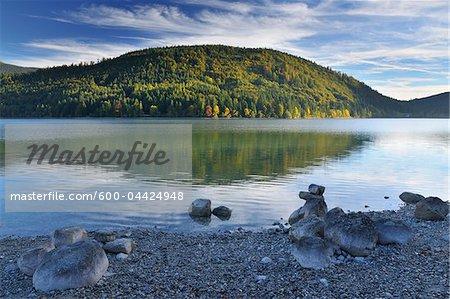 Rocky Shore by Lake in Autumn, Niedernach, Walchensee, Bavaria, Germany