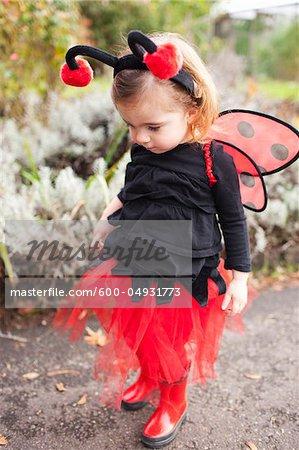Girl Dressed-Up as Ladybug, Portland, Multnomah County, Oregon, USA