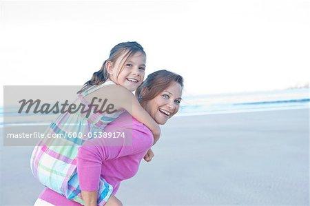 Mother and Daughter on Beach, Camaret-sur-Mer, Finistere, Bretagne, France