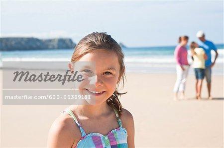 Family on Beach, Camaret-sur-Mer, Finistere, Bretagne, France