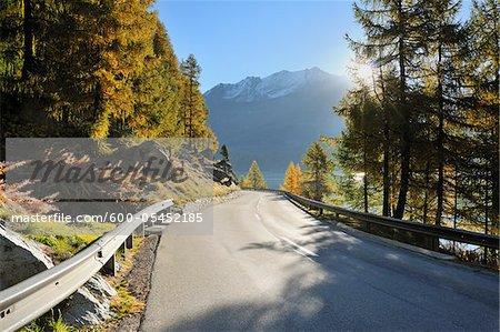 Road, Lake Sils, Engadin, Canton of Graubunden, Switzerland