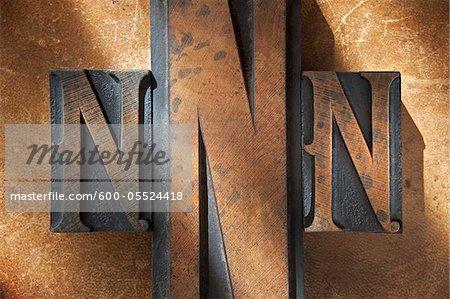 Wood Letterpress N's