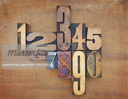 Wooden Letterpress Numbers