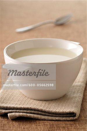 Close-up of Bowl of Milk