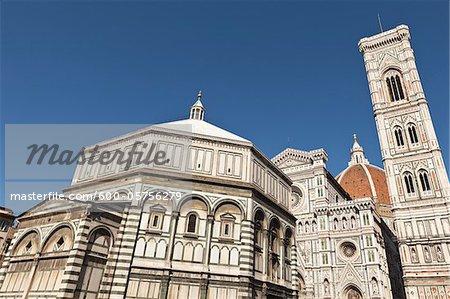 Battistero di San Giovanni and Giotto's Campanile, Florence, Firenze Province, Tuscany, Italy