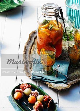 Citrus Cocktails with Mellon Balls wrapped in Prosciutto