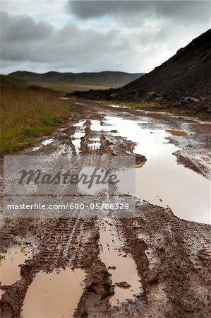 Tire Tracks on Dirt Road, Reykjanes Peninsula, South Iceland, Iceland