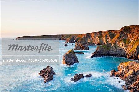 Sea Stacks of Bedruthan Steps, Cornwall, England