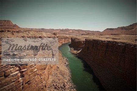 Marble Canyon and the Colorado River viewed from the Navajo Bridge, Arizona, USA