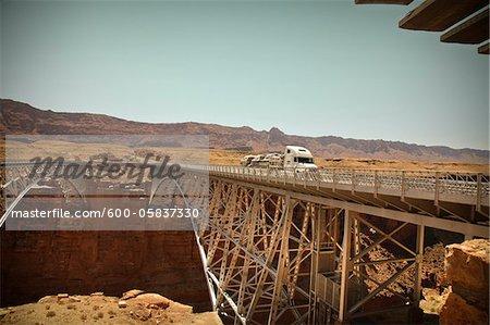 Navajo Bridge crossing over the Colorado River's Marble Canyon near Lee's Ferry, Arizona, USA
