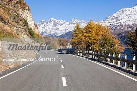 Road along Lake Silvaplana with Mountains, Engadin, Switzerland