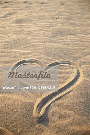 Heart Drawing on Sand, Biscarrosse, Landes, Aquitaine, France