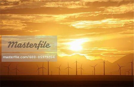 Sunset and Wind Turbines, Pincher Creek, Alberta, Canada