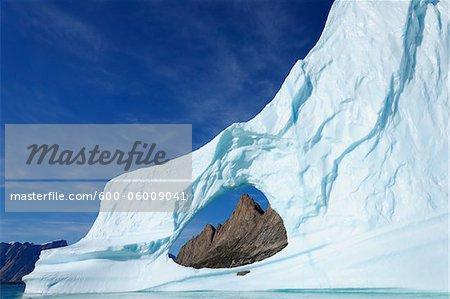 Iceberg and Mountains, Bjorn Oer, Ittoqqortoormiit, Sermersooq, Greenland