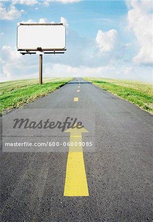 Bicycle Path and Blank Billboard
