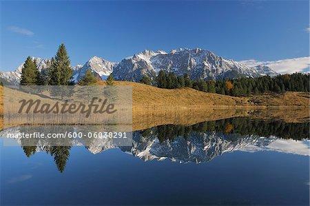 Wildensee with Karwendel Mountains in Autumn, Mittenwald, Garmisch-Partenkirchen, Upper Bavaria, Bavaria, Germany