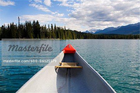Canoe on Beauvert Lake, Jasper National Park, Alberta, Canada
