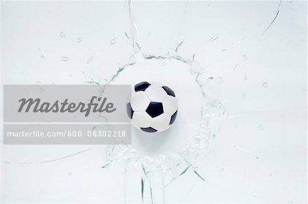 Soccer Ball and Broken Glass