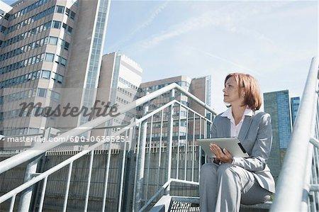 Businesswoman using Tablet PC, Niederrad, Frankfurt, Germany