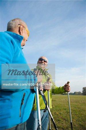 Men Hiking, Lampertheim, Hesse, Germany