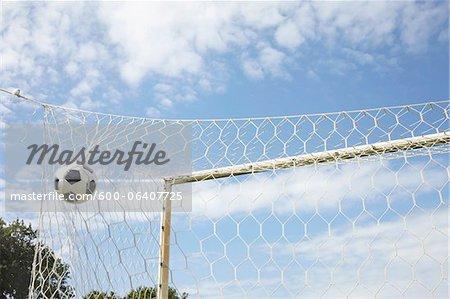 Soccer Ball in Goal, Cap Ferret, Gironde, Aquitaine, France
