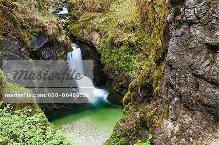 Waterfall in the Gorges de l'Abime, Saint-Claude, Jura, Franche-Comte, France