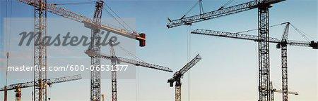 Panoramic of Multiple Heavy Duty Construction Cranes, Toronto, Ontario, Canada